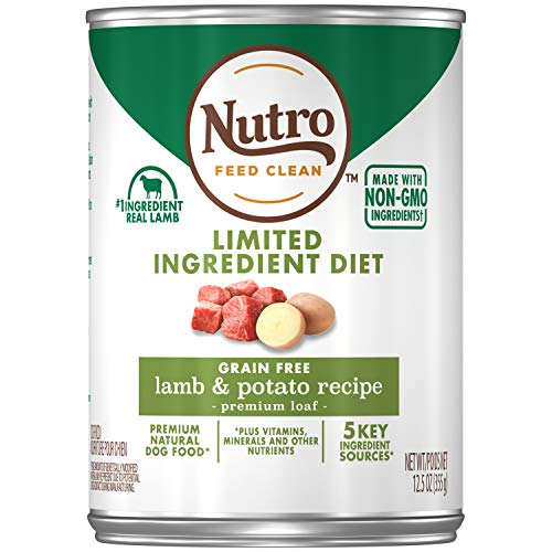 NUTRO Limited Ingredient Diet Grain Free Adult Lamb & Potato Recipe Premium Loaf Canned 12.5 Ounce Cans (Pack of 12)