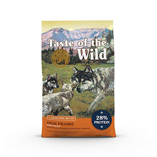 Taste of the Wild High Prairie Canine Grain-Free Recipe with Roasted Bison and Venison Dry Dog Food for Growing Puppies,...