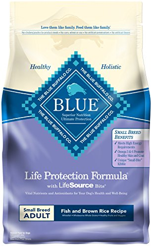 Blue Buffalo Life Protection Formula Small Breed Dog Food – Natural Dry Dog Food for Adult Dogs – Fish and Brown...