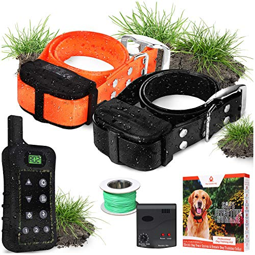 Pet Control HQ Dog Containment System Wireless Perimeter w/ 2 Shock Collar Kit & Remote - Electric Proximity Fence -...